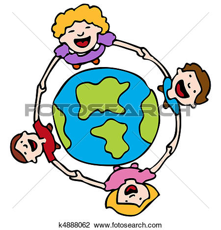 Clipart of Holding Hands Around The Earth k4888062.