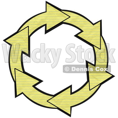 Illustration of a Circle Of Yellow Lined Notebook Paper Arrows.