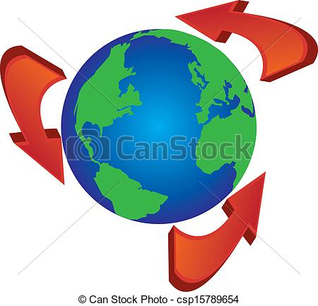 Clipart Vector of recycle arrows around the globe world.