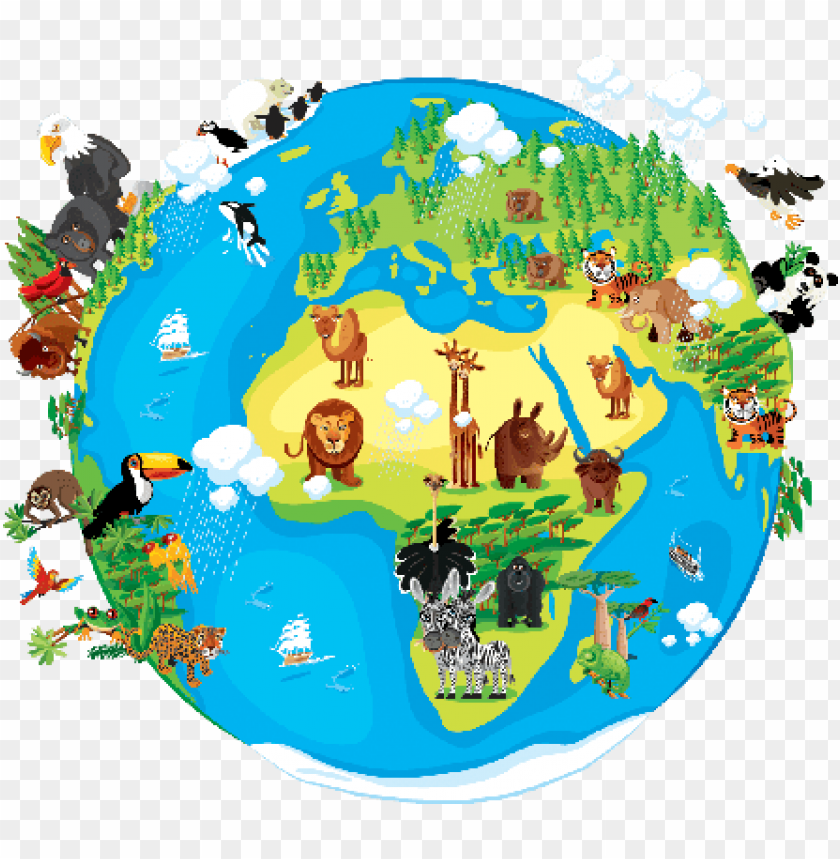 animals around the world clipart PNG image with transparent.