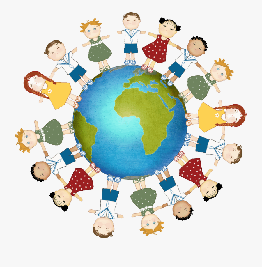 Kids Holding Hands Around The World Clipart , Png Download.
