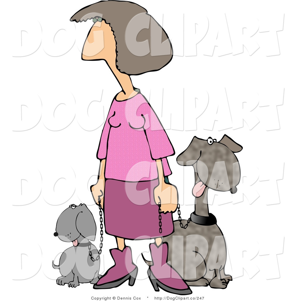 Clip Art of a Woman Dressed in Pink Taking Her Two Happy.