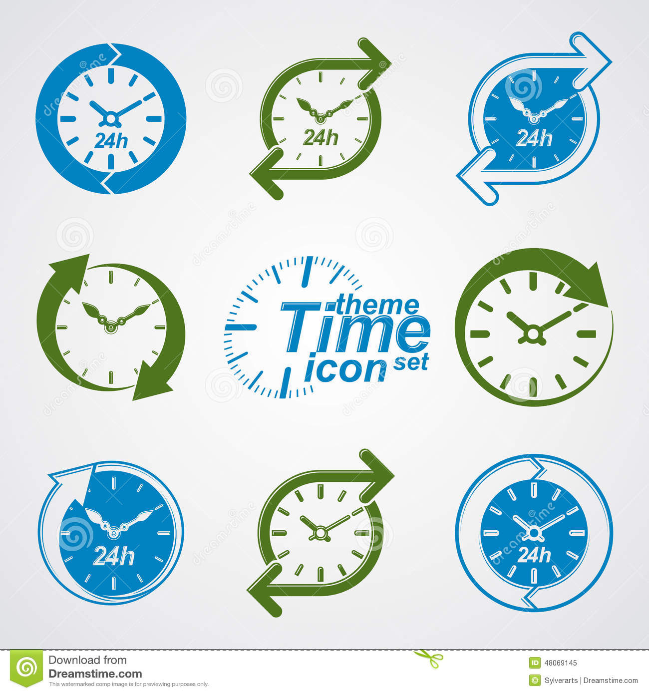 Open Around The Clock 24 Hours 7 Days A Week Icons Set Stock.