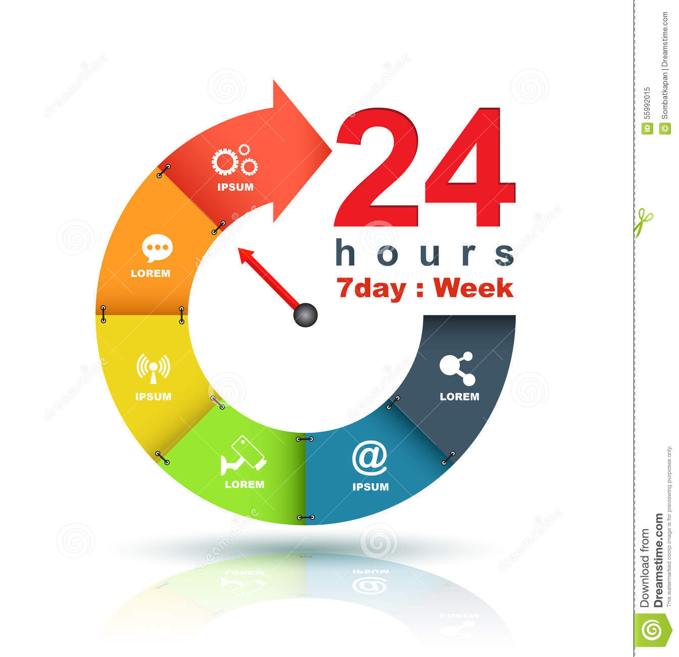 Service And Support Around The Clock Stock Vector.