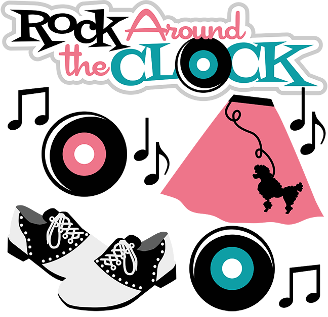 Rock around the clock clipart.