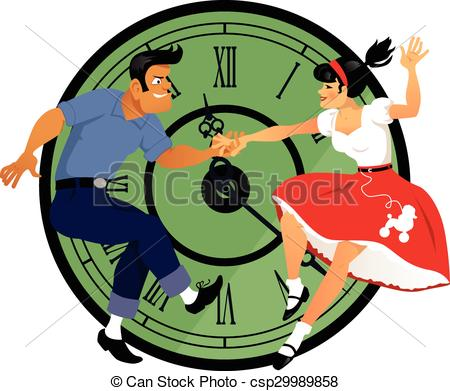 Clipart Vector of Rock around the clock. Young couple dressed in.
