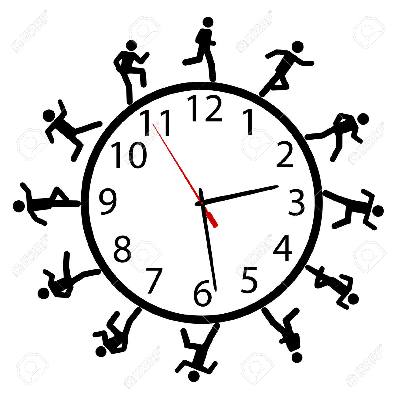 A Symbol Person Or People In A Hurry Run A Work Day Race Around.