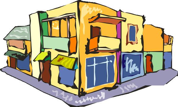 Stores Around A Corner Clip Art.