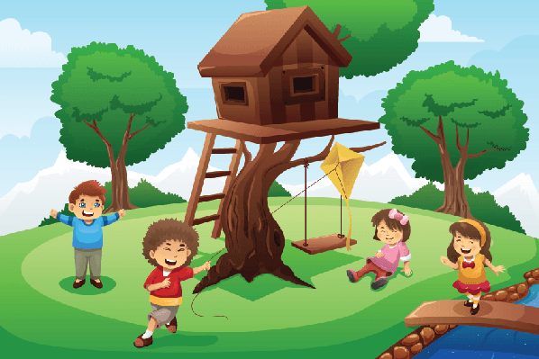 Kids Playing around Tree House.