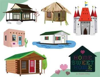 Home Sweet Home / Homes Around the World Clip Art Set.