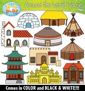 Around the World Houses Clipart Set {Zip.
