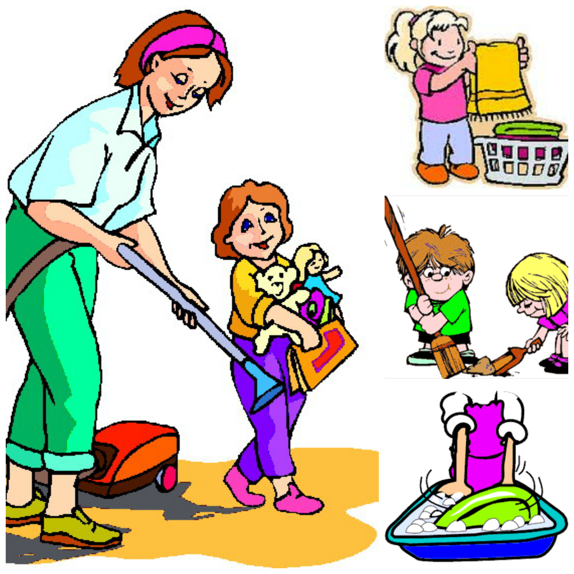 Children helping parents at home clipart.
