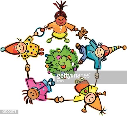 Happy Dancing Kids Around Tree! premium clipart.