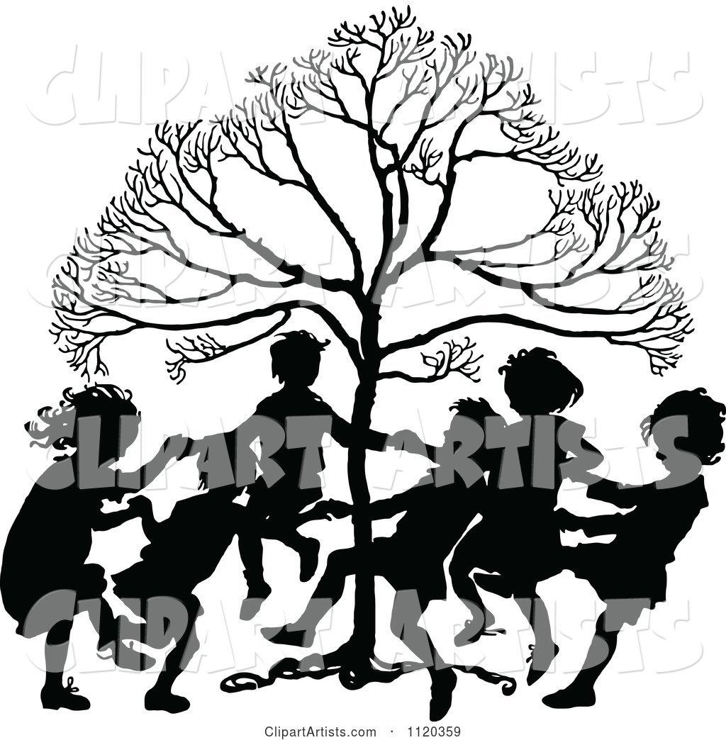 Silhouetted Children Dancing Around A Tree Clipart by Prawny.
