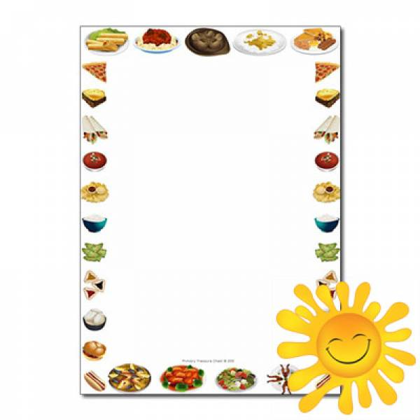 Dishes\' from Around the World\' Themed Page Borders/Writing.