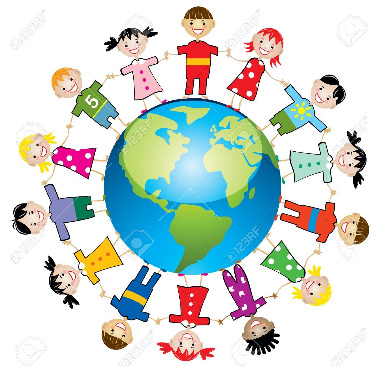 illustration of children around the world.