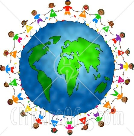 Friends Holding Hands Around The World.