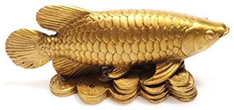 Feng Shui Copper Arowana Golden Dragon Fish Money Fish Statue Figurine Home  Furnishing Ornament Lucky red String Set.