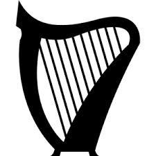 Image result for abstract irish harp black and white clip art.