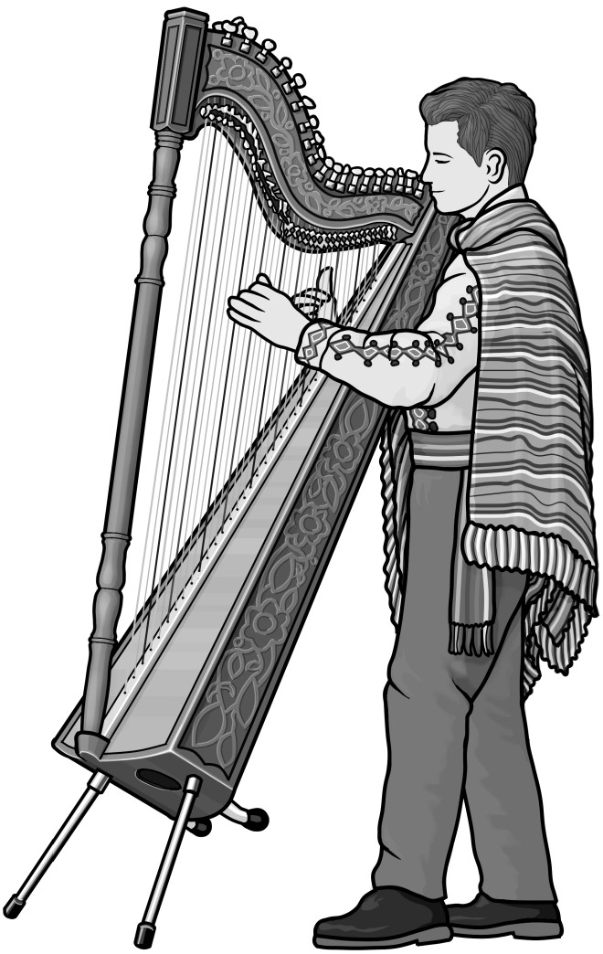 arpa(Paraguayan) Grayscale clipart.