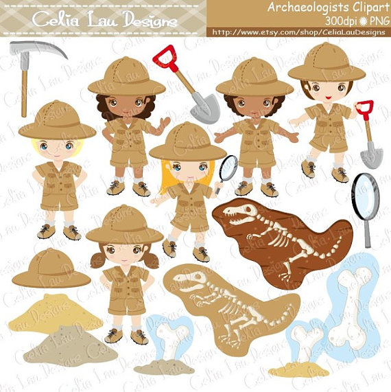 Archaeologist Kids Clipart , Explorer hat , Dinosaur.