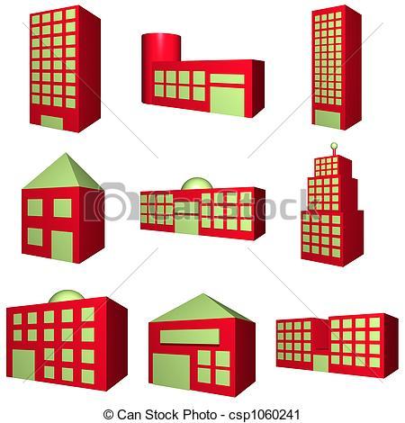 Clipart de edificio, Conjunto, arquitectura, rojo, 3D.