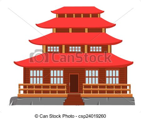 Clip Art de vectores de edificio, japonés, arquitectura.