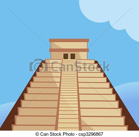Stock Illustrations of Aztec temple.