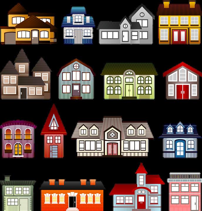 Ilustración gratis: Casas, Conjunto, Arquitectura.