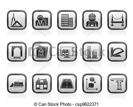 Vector Clip Art de construcción, arquitectura, iconos.