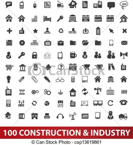 Clip Art de vectores de y, Conjunto, industria, iconos, vector.
