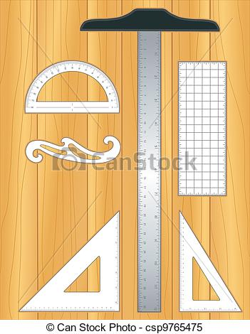 Clipart Vector of Drafting Tools, wood drafting board.