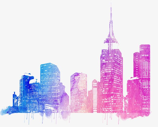 Colorful City Skyline, Colorful, City, Architecture PNG Transparent.