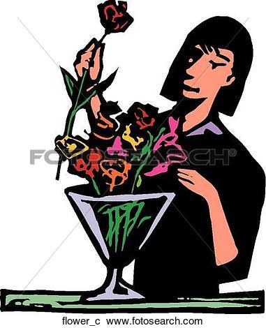 Clip Art of Flower Arranging flowers.