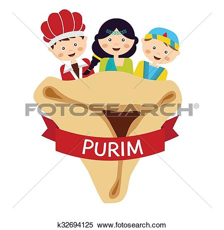 Clipart of kids wearing costumes from Purim story. arranged around.