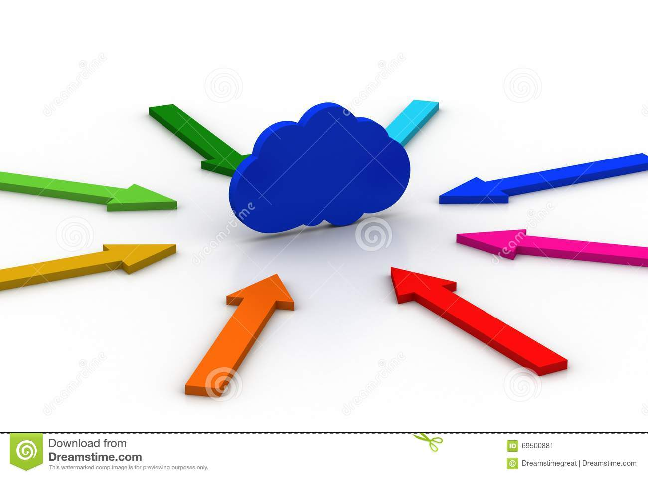 Arrows Arranged Around The Cloud Stock Illustration.