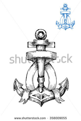 Decorative Retro Anchor Sketch With Ribbon Banner, Arranged Around.
