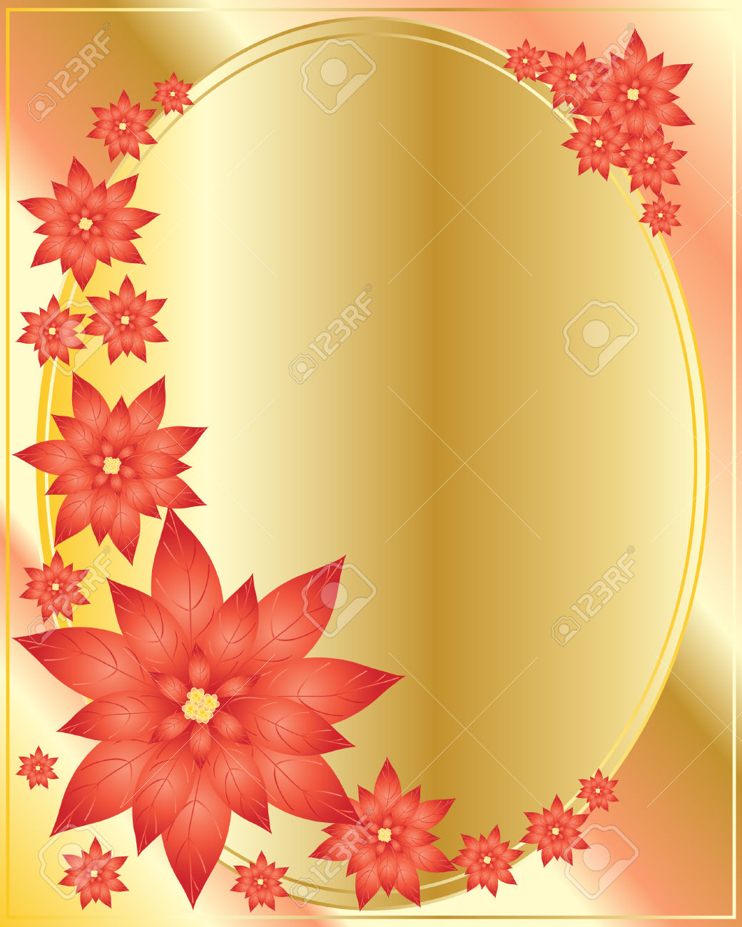 An Illustration Of Poinsettias Arranged Around A Golden Oval.