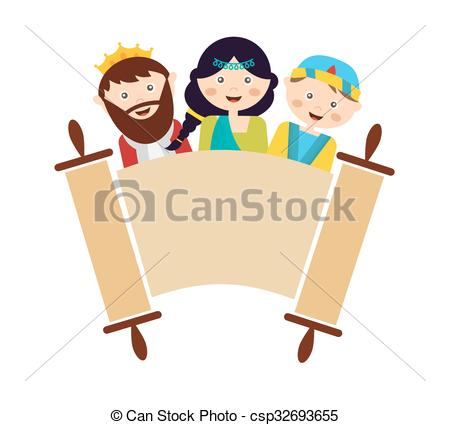 Clipart Vector of kids wearing costumes from Purim story. arranged.