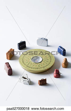 Pictures of Miniature suitcases and bags arranged around Feng Shui.