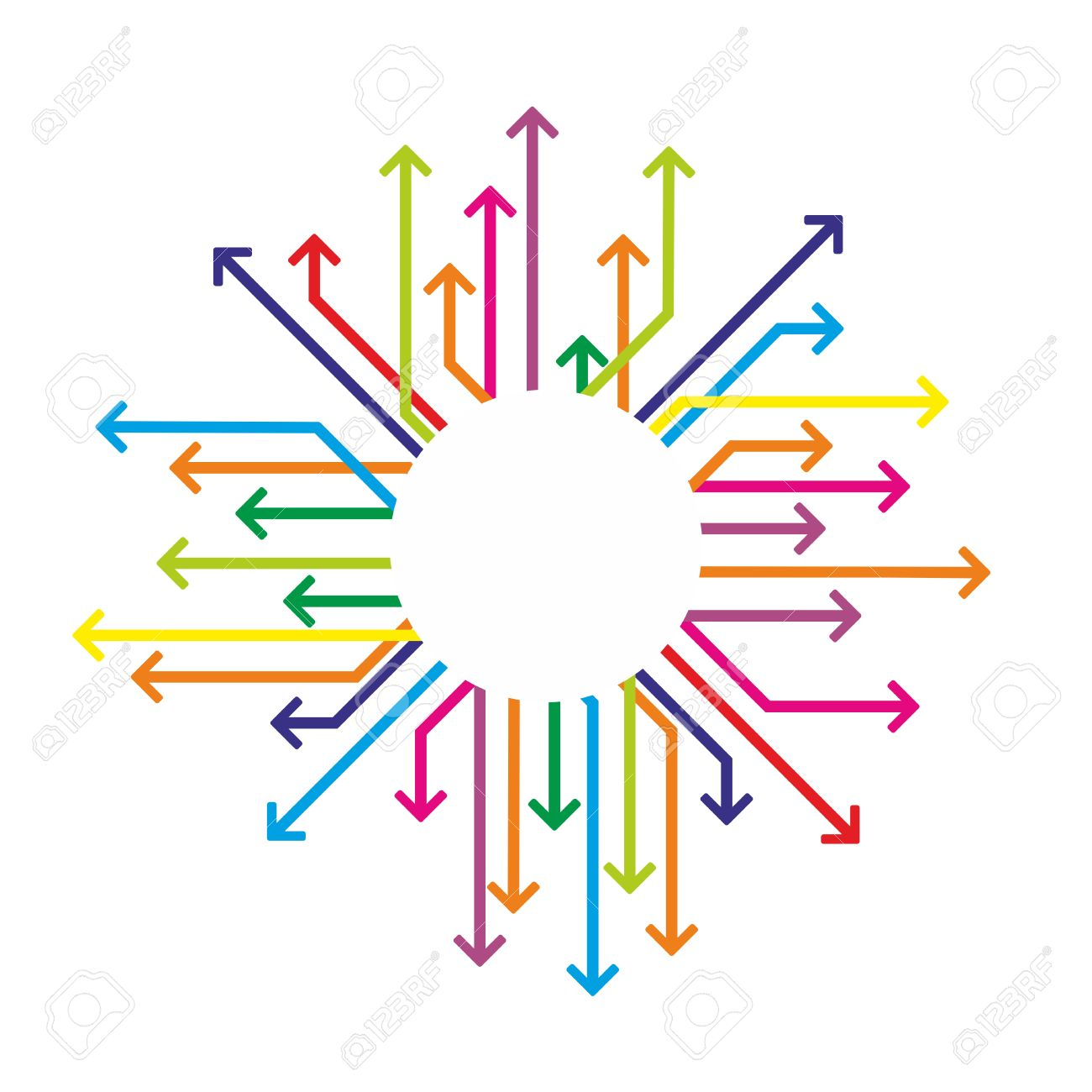 Colored Arrows Arranged Around A White Background Royalty Free.