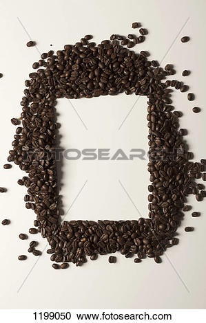 Stock Photography of Coffee beans arranged around a rectangle.