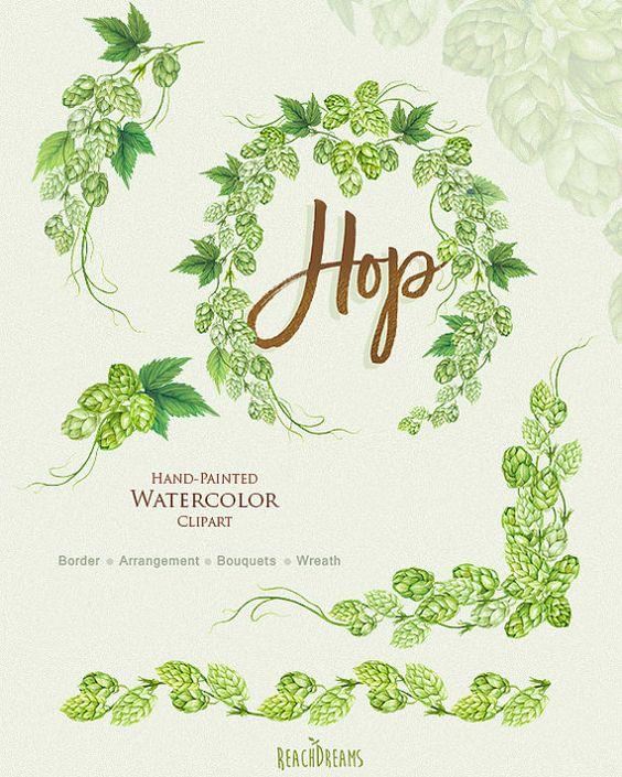 Watercolor hop clipart, Wreath, Bouquet, Arrangement, Border.