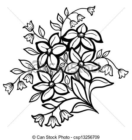 Clip Art Flower Black And White.