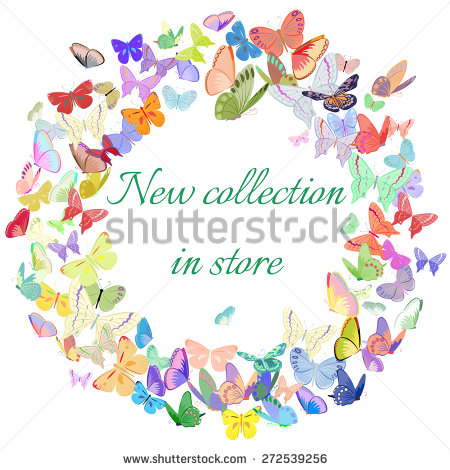Butterfly Frame Design Element Pink Blue Stock Vector 405496771.