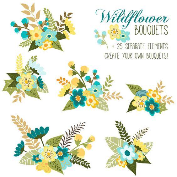 CLIP ART: Flower Bouquet // Floral Arrangement // Vector EPS.