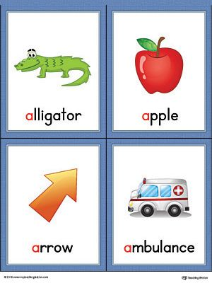 Letter A Words and Pictures Printable Cards: Alligator.
