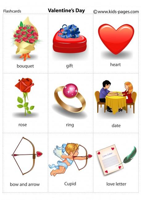 Valentine\'s Day flashcard.