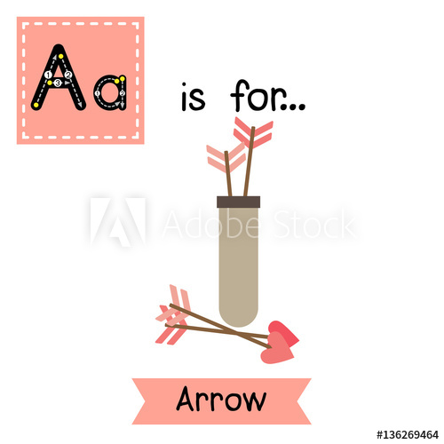 Cute children ABC alphabet A letter tracing flashcard of.
