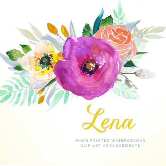 Acuarela Floral Clip arte arreglos florales acabados pintado.